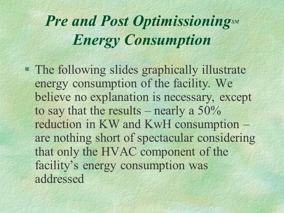 Pre and Post OptimissioningSM Energy Consumption