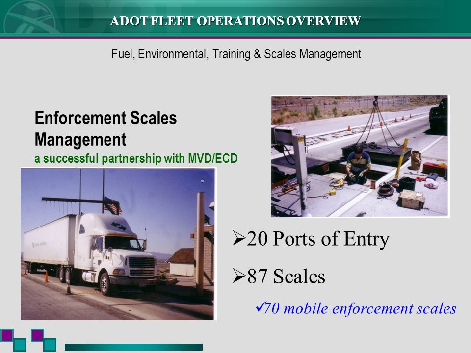 Enforcement Scales Management a successful partnership with MVD/ECD