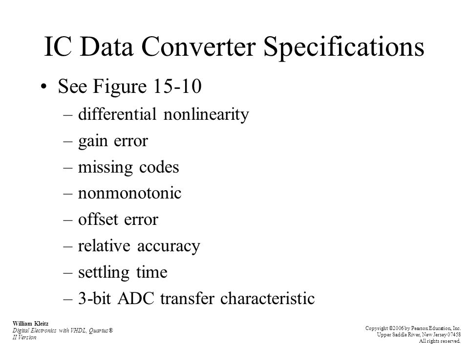 IC Data Converter Specifications