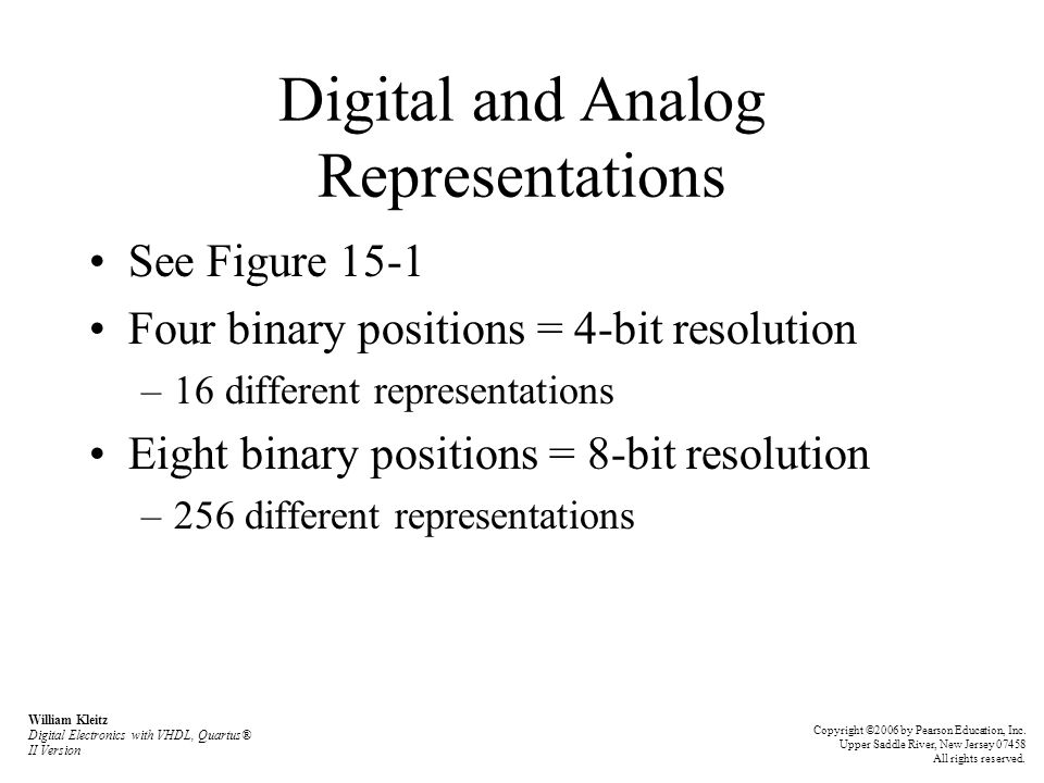 Digital and Analog Representations