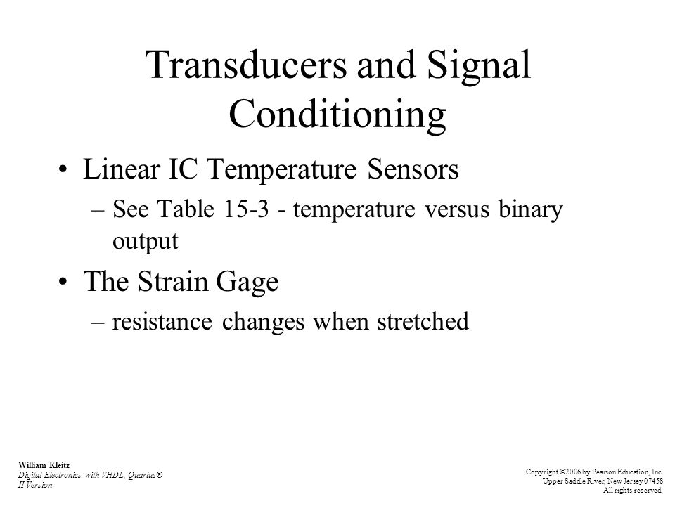 Transducers and Signal Conditioning