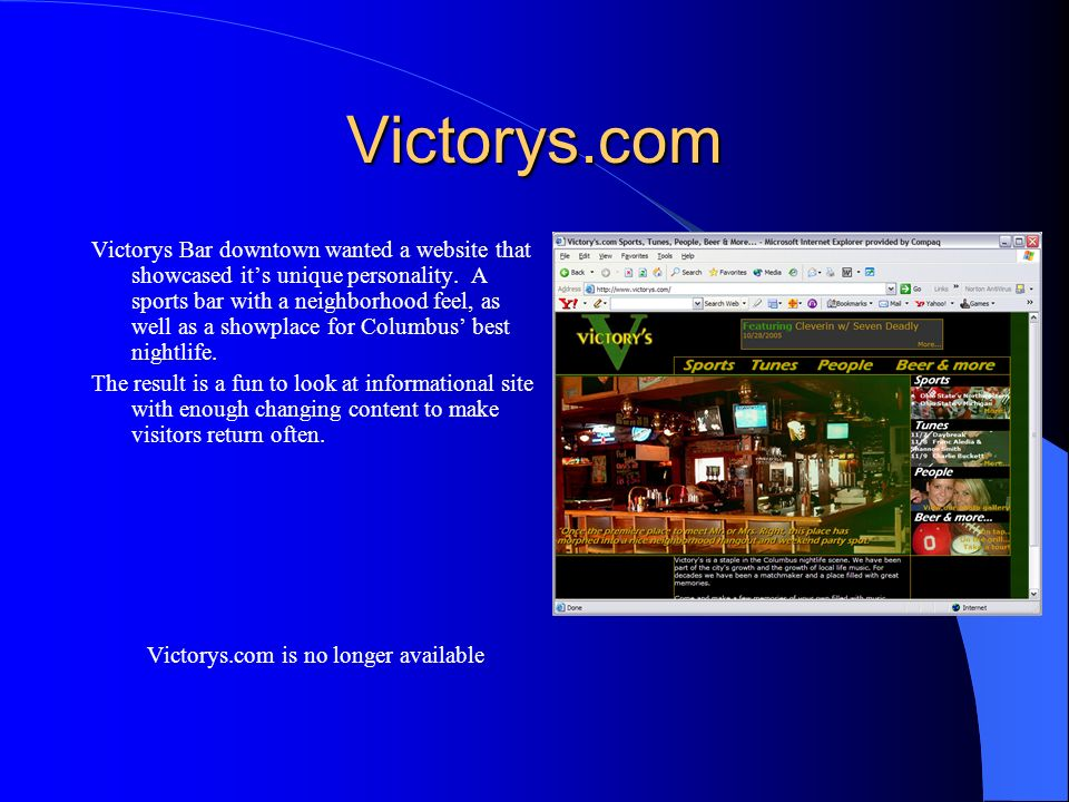 Victorys.com is no longer available