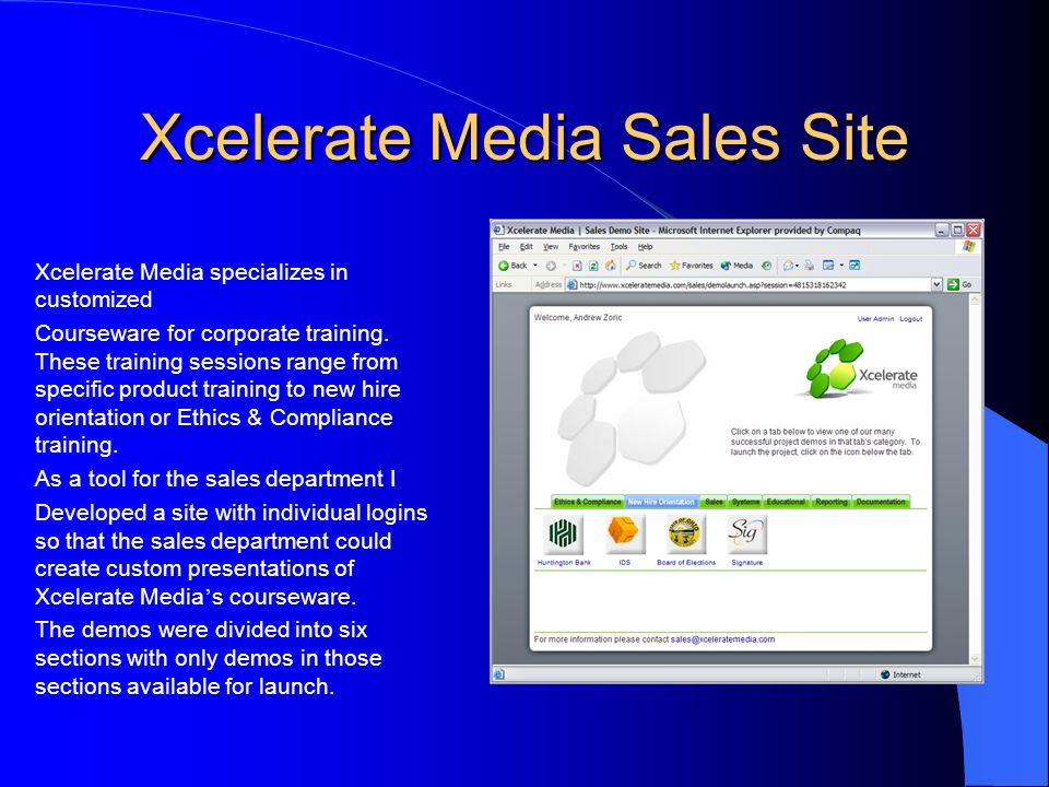 Xcelerate Media Sales Site