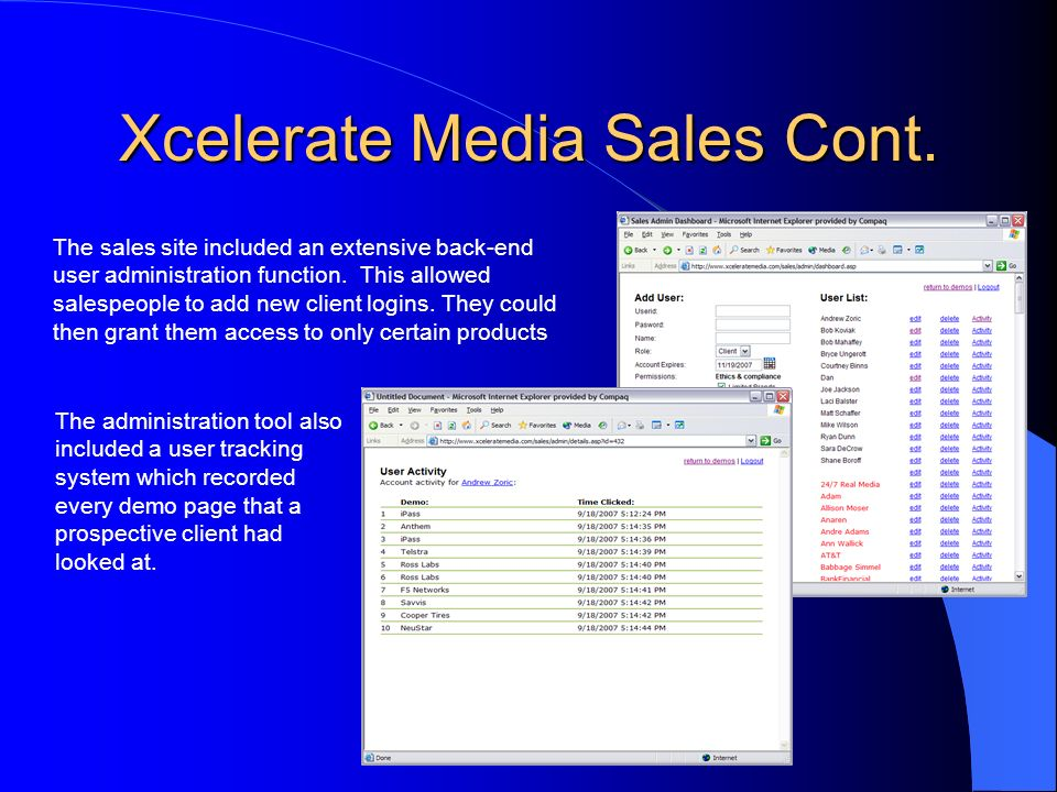 Xcelerate Media Sales Cont.
