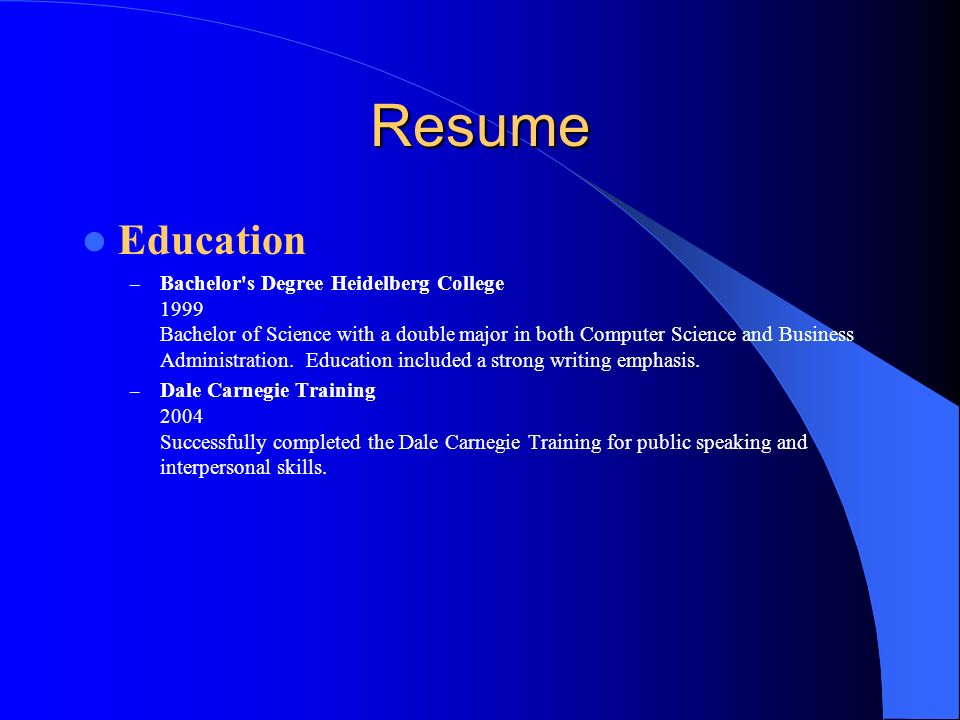 Resume Education.