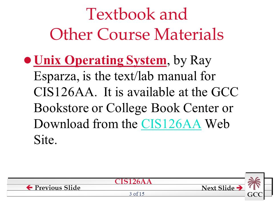 Textbook and Other Course Materials