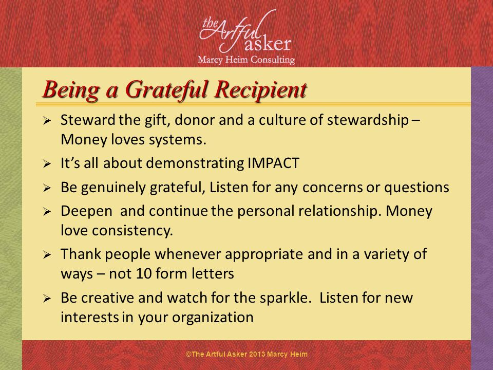 Being a Grateful Recipient