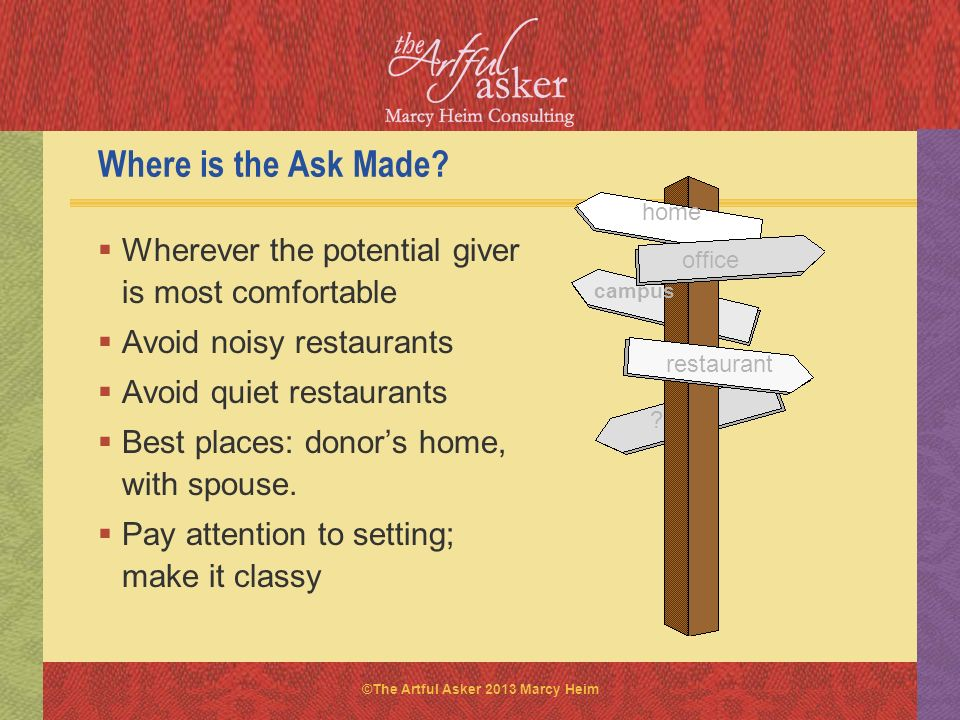 Where is the Ask Made home. Wherever the potential giver is most comfortable. Avoid noisy restaurants.