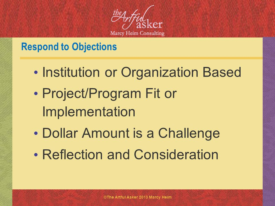 Respond to Objections Institution or Organization Based