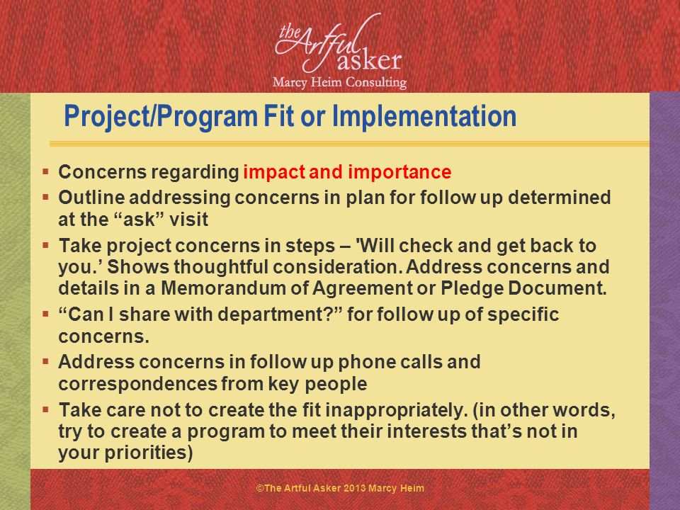 Project/Program Fit or Implementation