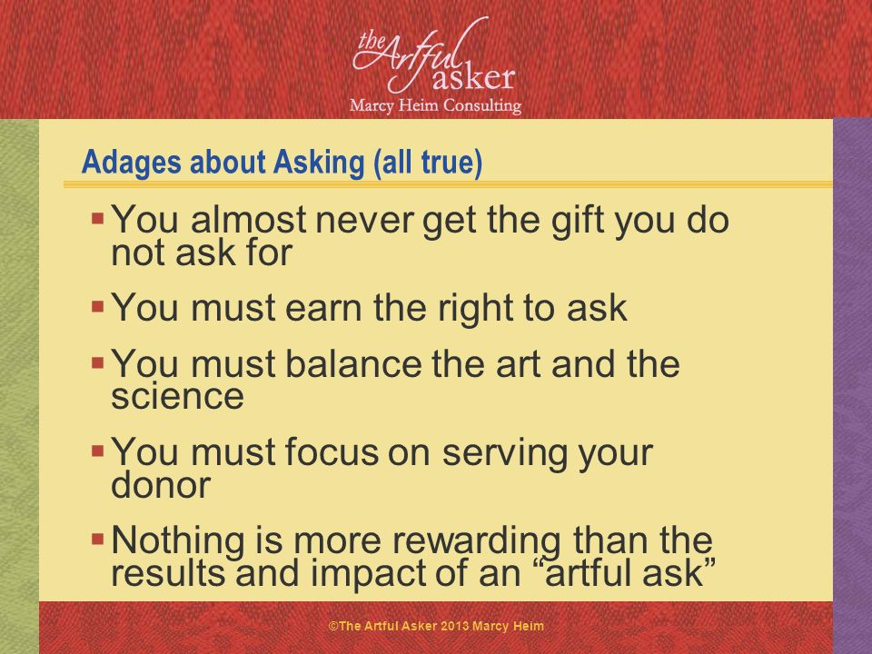 Adages about Asking (all true)