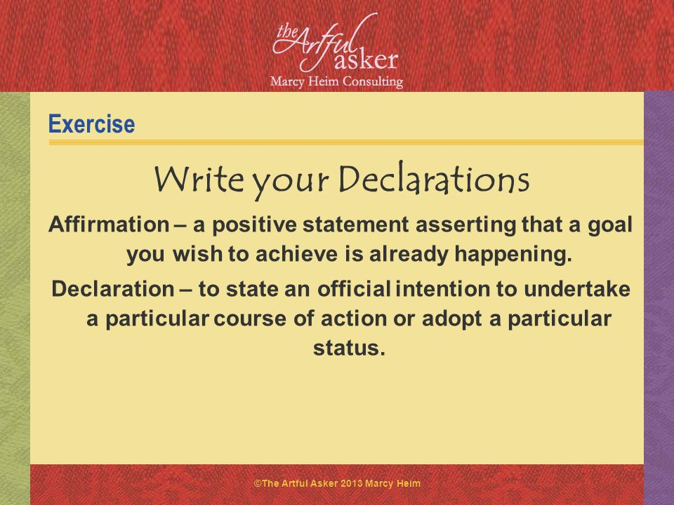 Write your Declarations