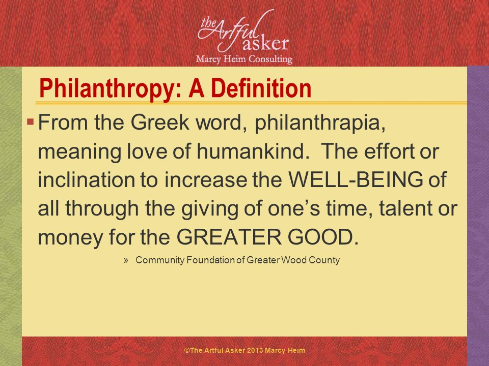 Philanthropy: A Definition
