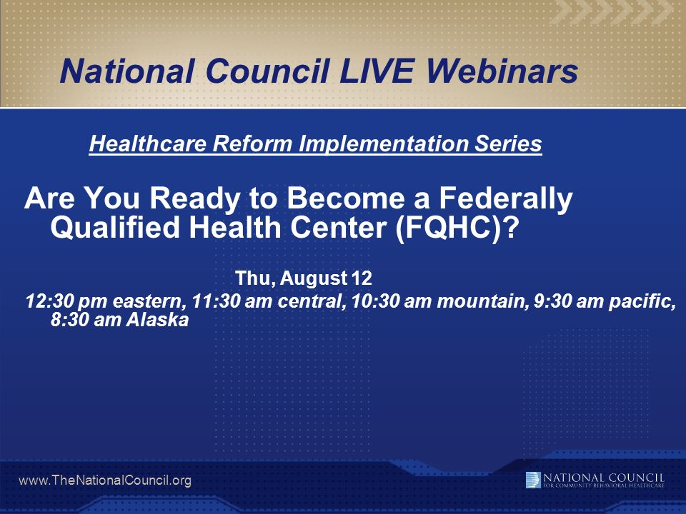 National Council LIVE Webinars