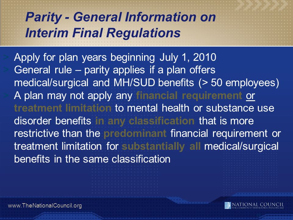Parity - General Information on Interim Final Regulations