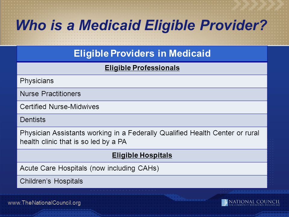 Who is a Medicaid Eligible Provider