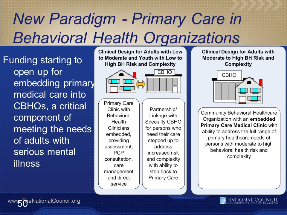 New Paradigm - Primary Care in Behavioral Health Organizations