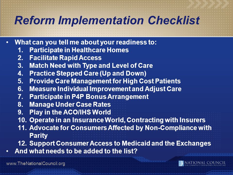 Reform Implementation Checklist