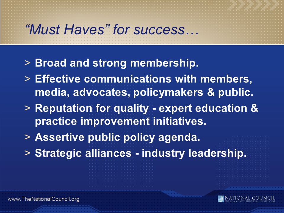 Must Haves for success…