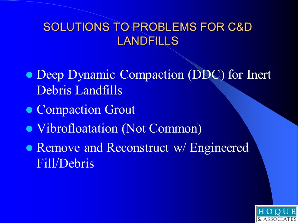 SOLUTIONS TO PROBLEMS FOR C&D LANDFILLS