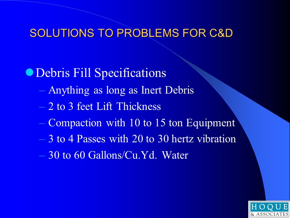 SOLUTIONS TO PROBLEMS FOR C&D
