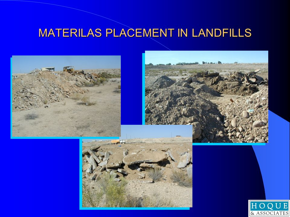 MATERILAS PLACEMENT IN LANDFILLS
