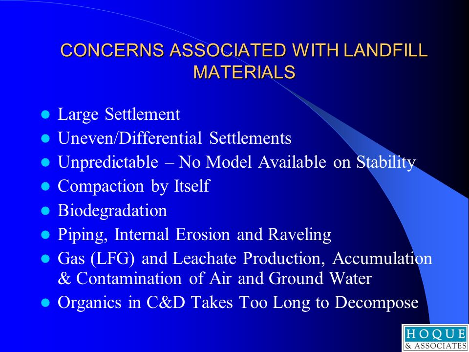 CONCERNS ASSOCIATED WITH LANDFILL MATERIALS