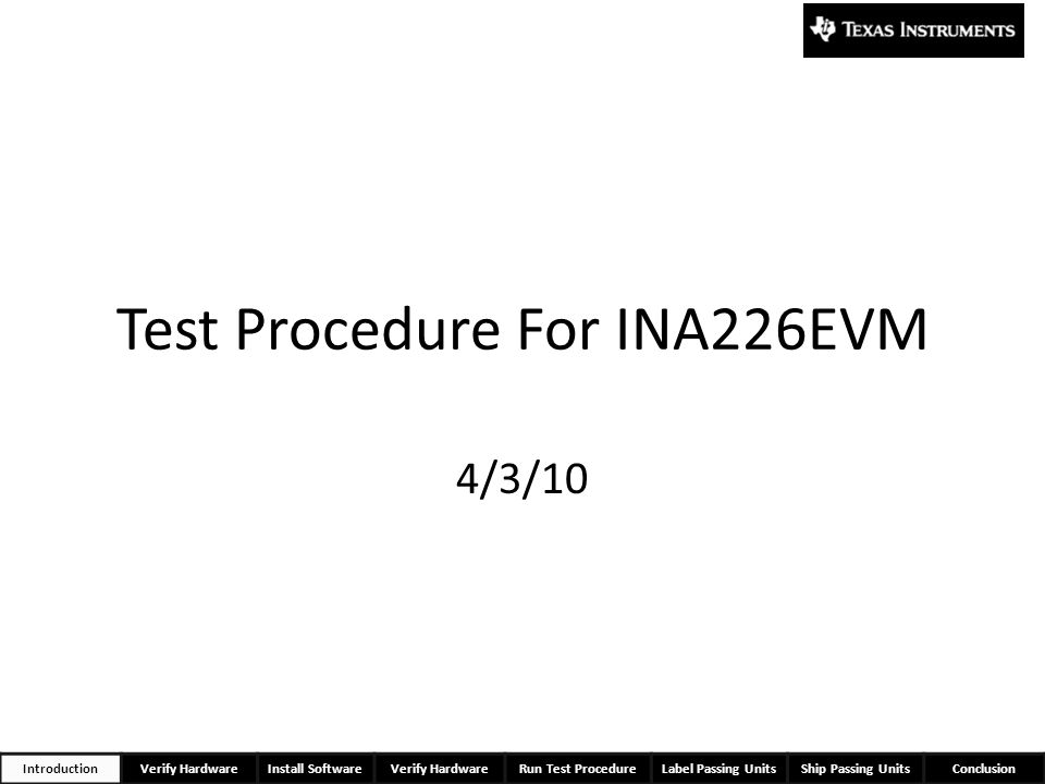 Test Procedure For INA226EVM