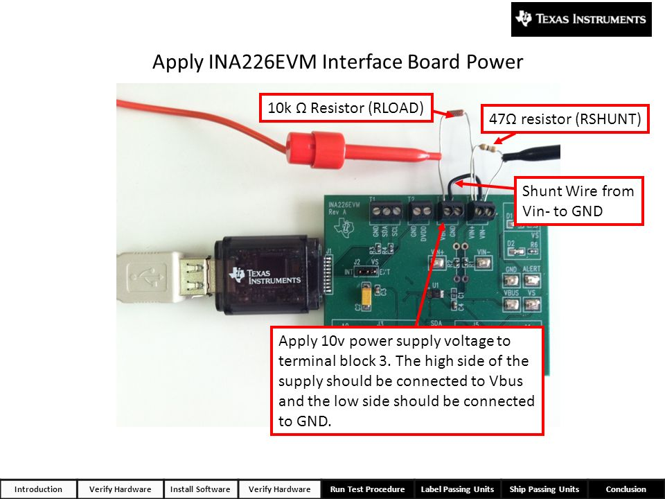 Apply INA226EVM Interface Board Power