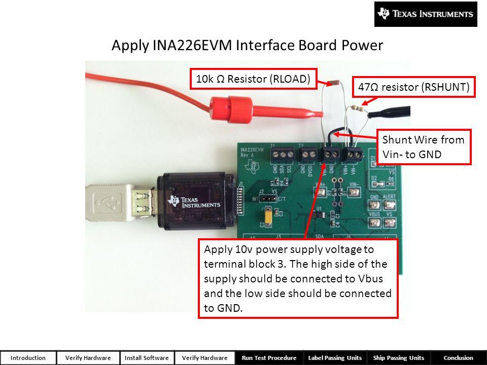 Apply INA226EVM Interface Board Power