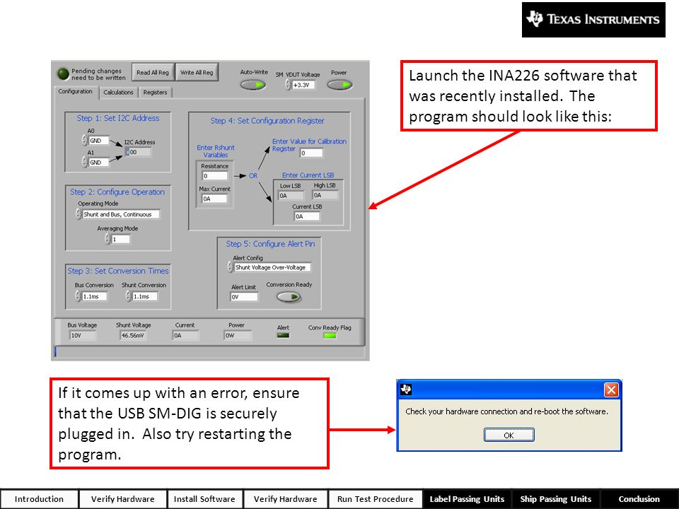 Launch the INA226 software that was recently installed