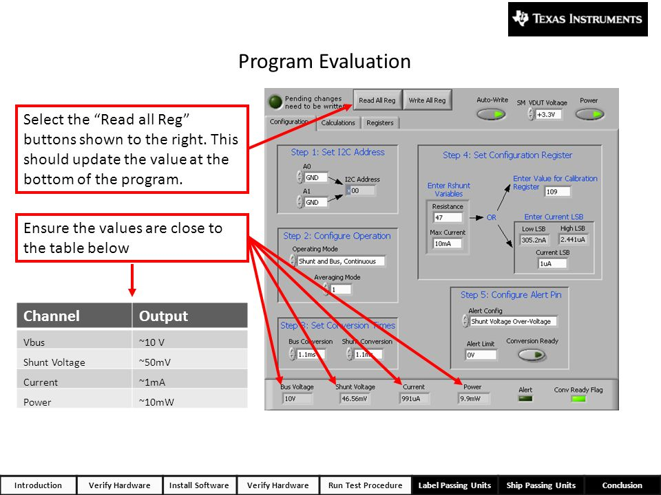 Program Evaluation Select the Read all Reg buttons shown to the right. This should update the value at the bottom of the program.