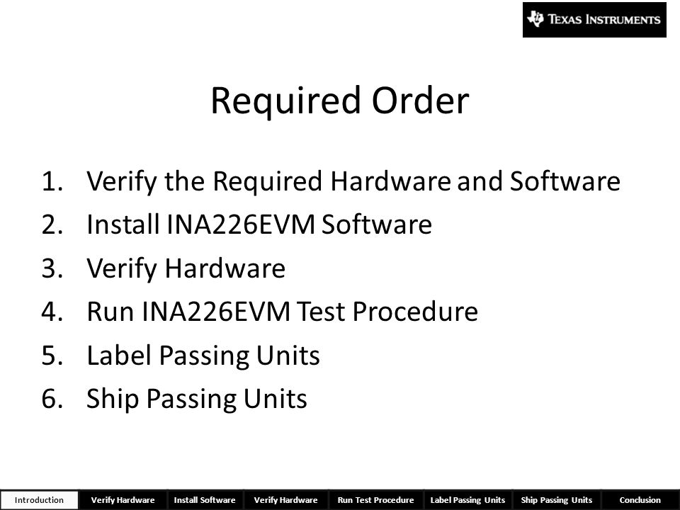 Required Order Verify the Required Hardware and Software