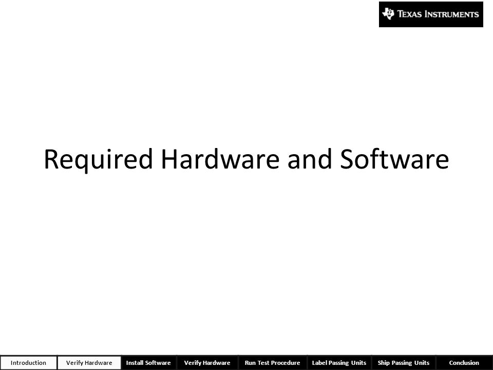 Required Hardware and Software