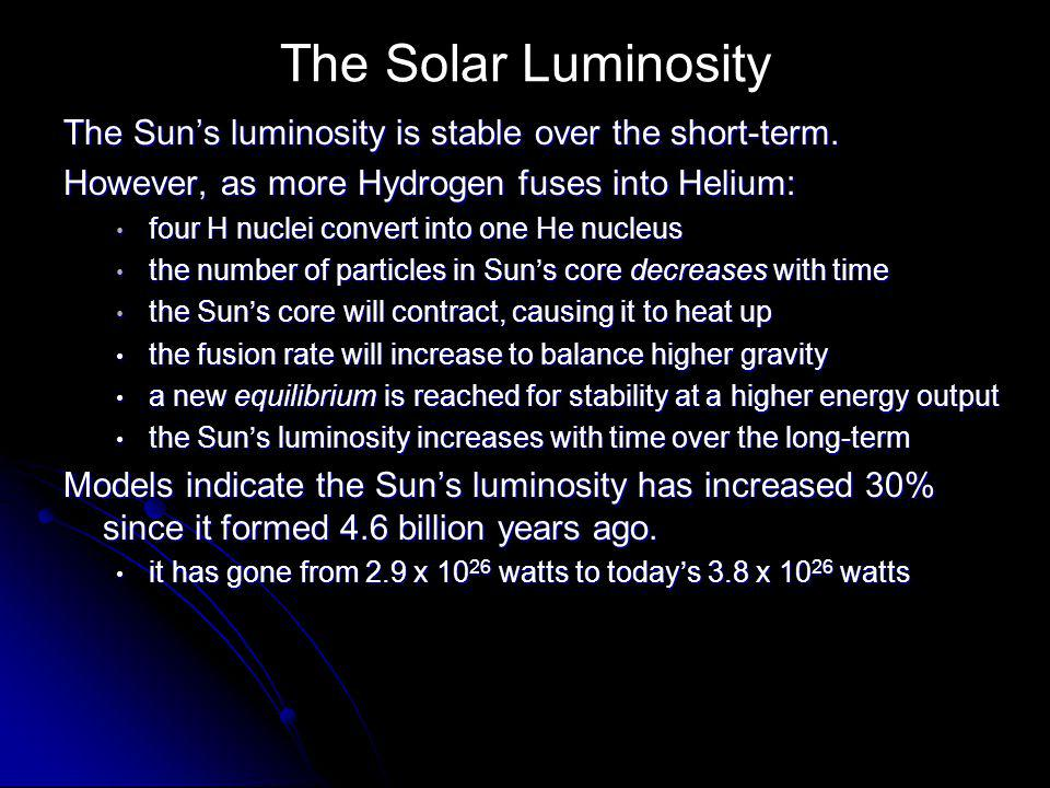 The Solar Luminosity The Sun's luminosity is stable over the short-term. However, as more Hydrogen fuses into Helium: