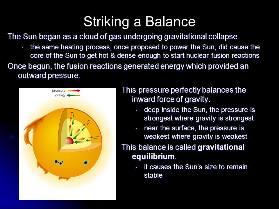 Striking a Balance The Sun began as a cloud of gas undergoing gravitational collapse.
