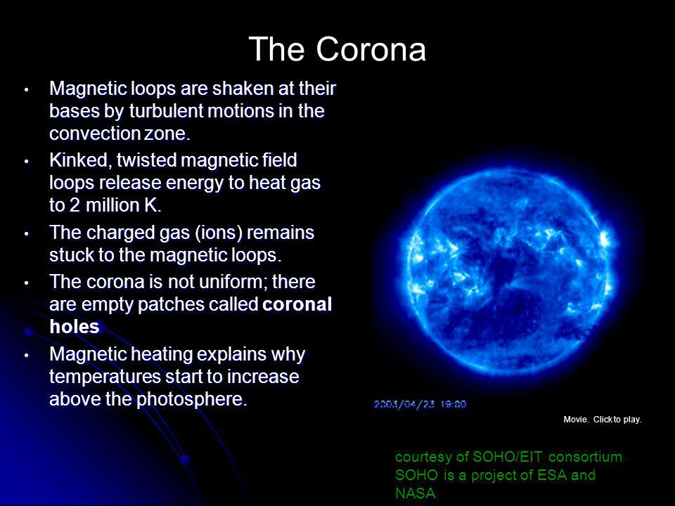 The Corona Magnetic loops are shaken at their bases by turbulent motions in the convection zone.