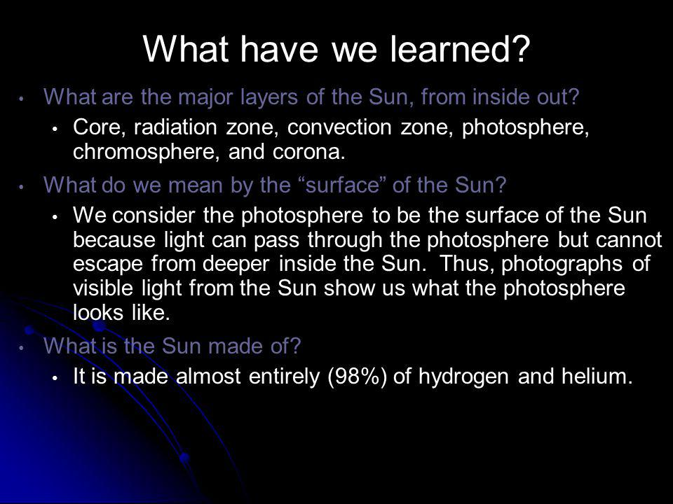 What have we learned What are the major layers of the Sun, from inside out
