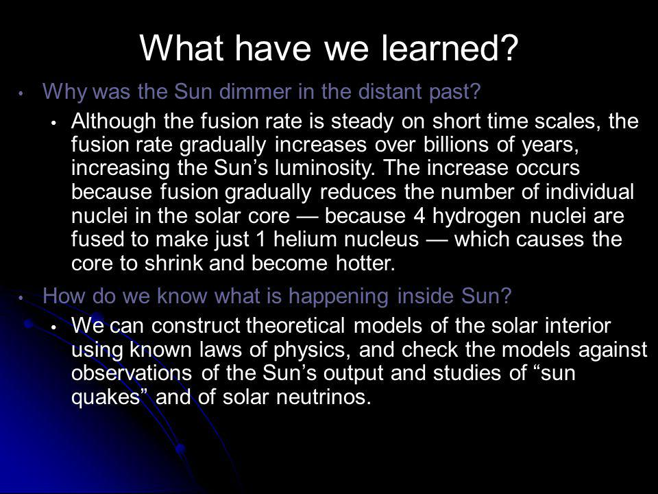 What have we learned Why was the Sun dimmer in the distant past