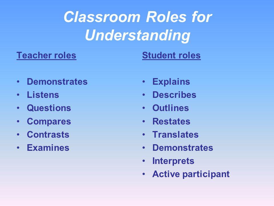 Classroom Roles for Understanding