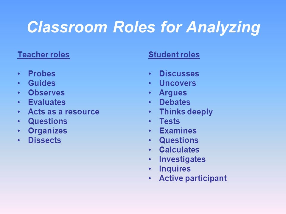 Classroom Roles for Analyzing