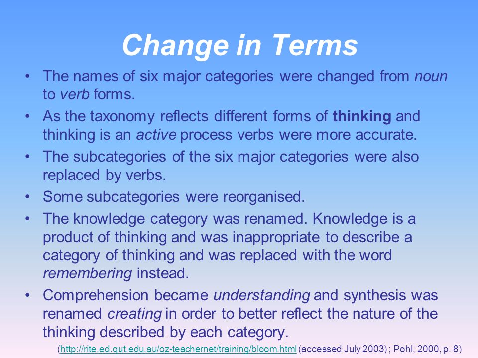 Change in Terms The names of six major categories were changed from noun to verb forms.