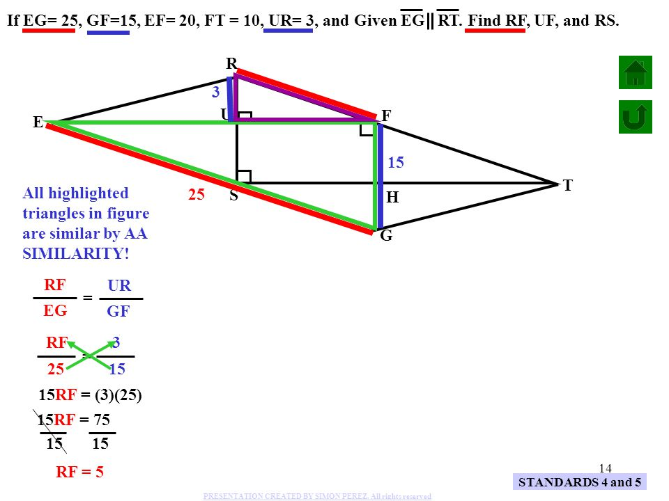 All highlighted triangles in figure are similar by AA SIMILARITY! H