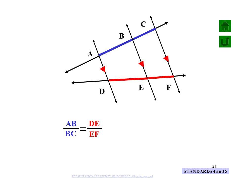 C BC B AB A EF DE E F D STANDARDS 4 and 5