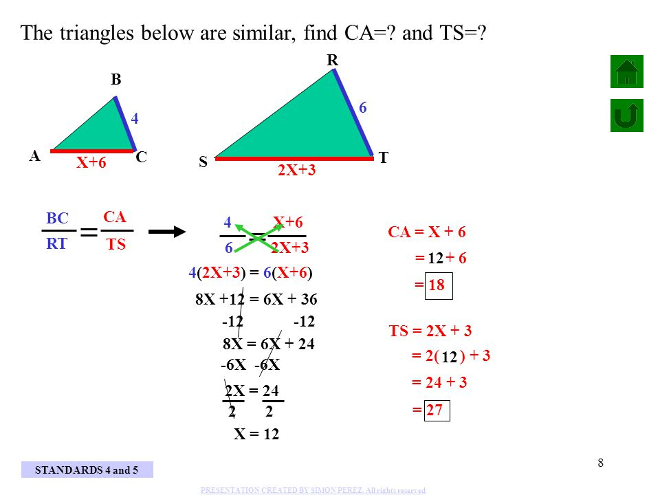 The triangles below are similar, find CA= and TS=