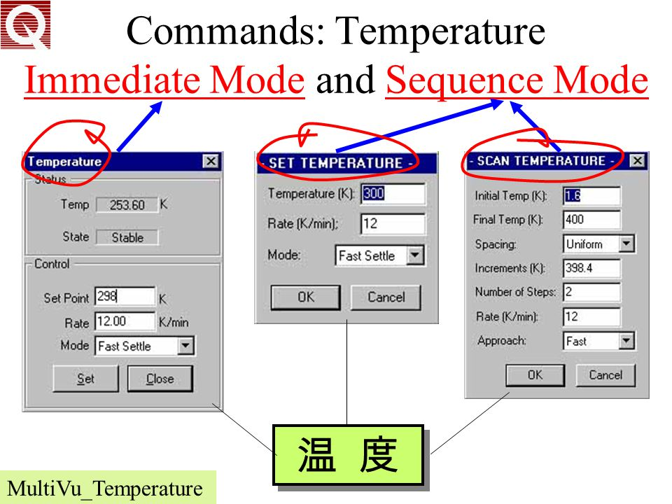 Commands: Temperature Immediate Mode and Sequence Mode