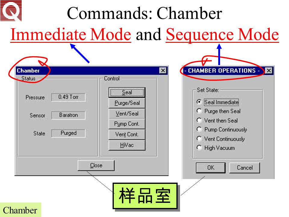 Commands: Chamber Immediate Mode and Sequence Mode