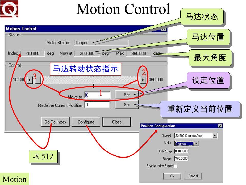 Motion Control 马达状态 马达位置 最大角度 马达转动状态指示 2 3 设定位置 1 重新定义当前位置 -8.512
