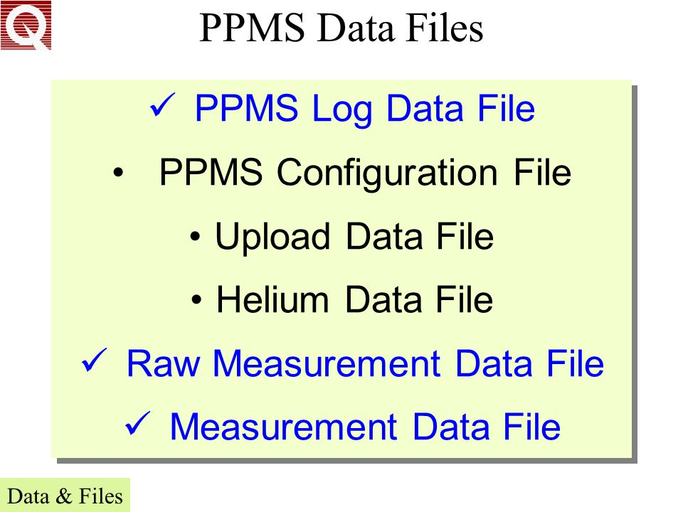 PPMS Data Files PPMS Log Data File PPMS Configuration File