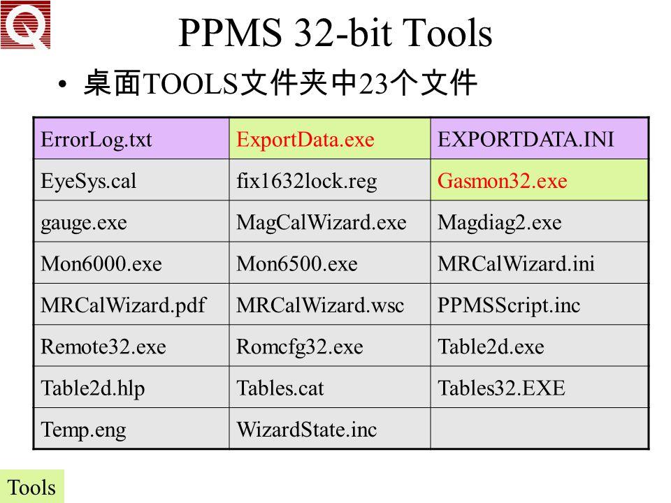 PPMS 32-bit Tools 桌面TOOLS文件夹中23个文件 ErrorLog.txt ExportData.exe